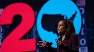 Kamala Harris la colistière de Joe Biden lors de la convention démocrate, le 19 août à Wilmington, dans le Delaware.