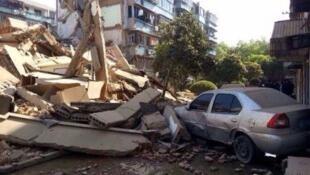 4月4日,中國浙江奉化市一幢5層居民房倒塌。