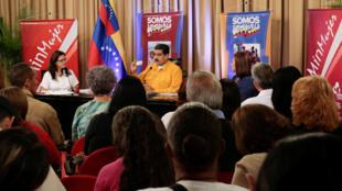 Nicolas Maduro en plein discours le 11 Juillet 2017 alors qu'il convoque une Constituante contestée. L'opposition organise ce dimanche un référundum sur cette Constituante.