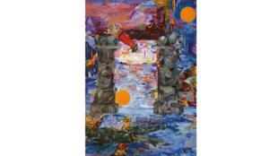 Une des oeuvres de Miryam Haddad exposée à la Collection Lambert à Avignon, une toile créée spécialement pour l'affiche du 73e festival d'Avignon.