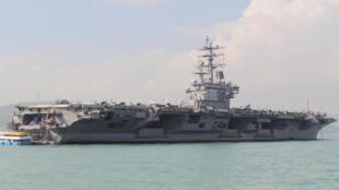 Tầu sân bay Mỹ USS Ronald Reagan. Ảnh chụp ngày 21/11/2018 nhân chuyến ghé thăm cảng Hồng Kông..