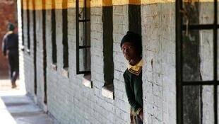 A student at a school in Khutsong Township, west of Johannesburg
