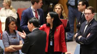 中美兩國常駐聯合國代表交談資料圖片