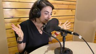 "Lebanese physician Sandrine Attallah recording her podcast ""Haki Sarih"" in a studio in the Lebanese capital Beirut"