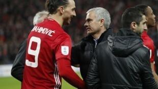 Mai horar da kungiyar Manchester United Jose Mourinho tare da tsohon dan wasansa Zlatan Ibrahimovic.