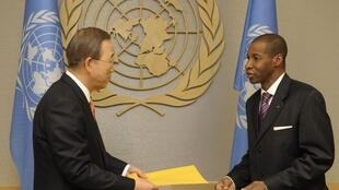 UN Secretary-General Ban in New York meets Côte d'Ivoire Ambassador to the UN