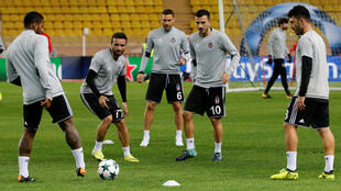 Soccer Football - Champions League - Besiktas JK Training - Stade Louis-II, Monaco - October 16, 2017 Besiktas' Gokhan Gonul, Dusko Tosic and Oguzhan Ozyakup during training