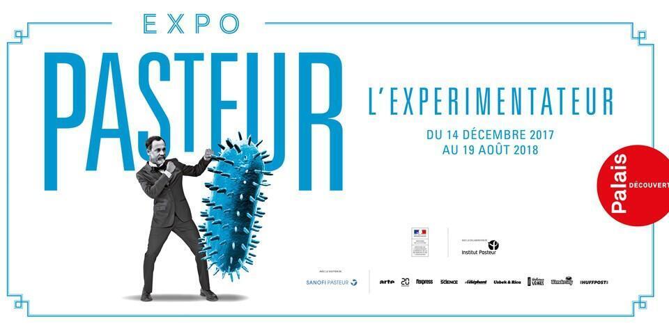 """Afiche de la exposición """"Pasteur l'expérimentateur"""" en el que se ve a Pasteur """"luchando"""" contra el virus de la rabia."""