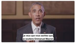 Barack Obama em vídeo de apoio a Emmanuel Macron