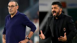 L'entraîneur Maurizio Sarri (Juventus Turin) et l'entraîneur Genarro Gattuso (Naples).