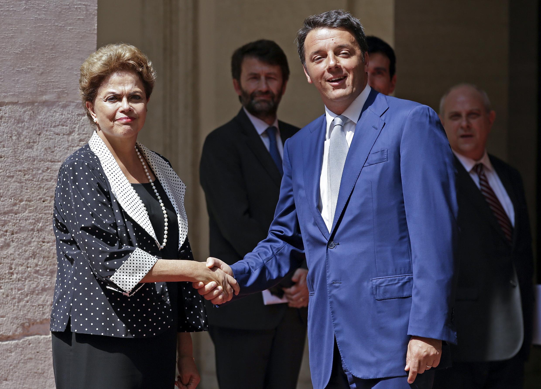 A presidente Dilma Rousseff e o primeiro-ministro italiano, Matteo Renzi, se encontraram no Palácio Chigi, em Roma