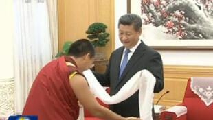 中国国家主席习近平2015年6月罕见在中南海接见第十一世班禅喇嘛 中国官方电视新闻视频截图