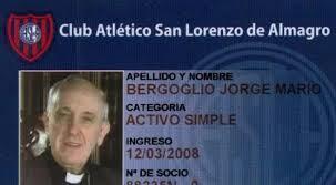 Thẻ câu lạc bộ thể thao San Lorenzo de Almagro của Hồng y Jorge Mario Bergoglio