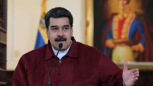 Le président vénézuélien Nicolas Maduro, le 24 septembre 2018 à Caracas, lors d'une déclaration auprès de ses ministres.