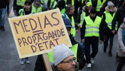 Les médias sont régulièrement pris à partie dans le cadre des manifestations des gilets jaunes, 12 janvier 2019.