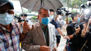 2020年9月3日,香港壹传媒创办人黎智英在西九龙法院门前。