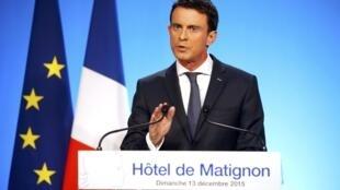 Thủ tướng Pháp Manuel Valls sau vòng hai cuộc bỏ phiếu cấp vùng, ngày 14/12/2015
