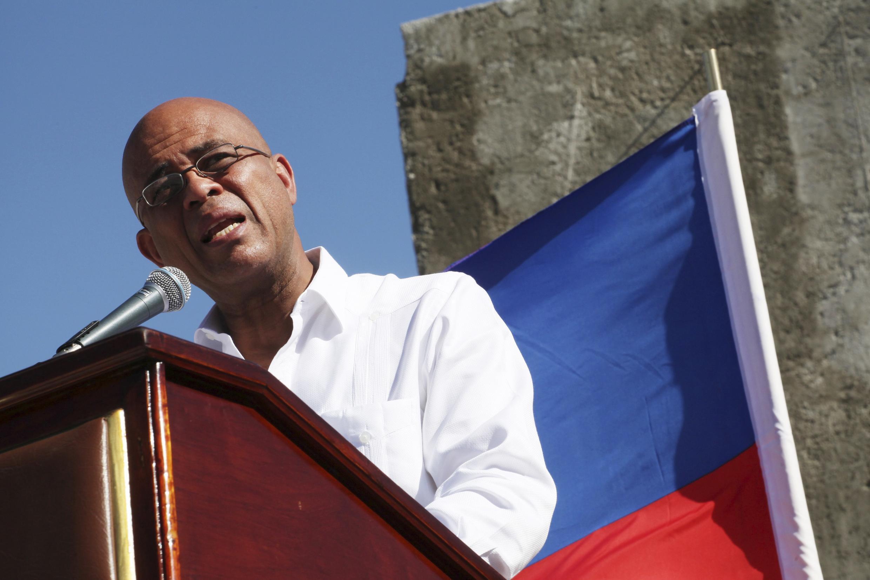 Le président haïtien Michel Martelly, le 12 janvier 2015 à Titanyen, au nord de Port-au-Prince.