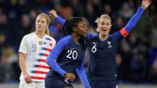 La Française Kadidiatou Diani a inscrit un doublé avec les Bleues en amical face aux USA (3-1), le 19 janvier 2019.