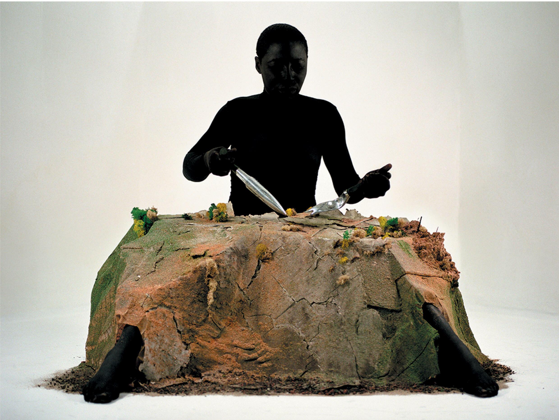 Otobong Nkanga, Alterscape: Playground, color print displayed on aluminum (2005-2015).  Presented as part of the Un.e Air.e de Famille exhibition, Paul Eluard Museum, Saint-Denis, France, June-Nov.  2021.