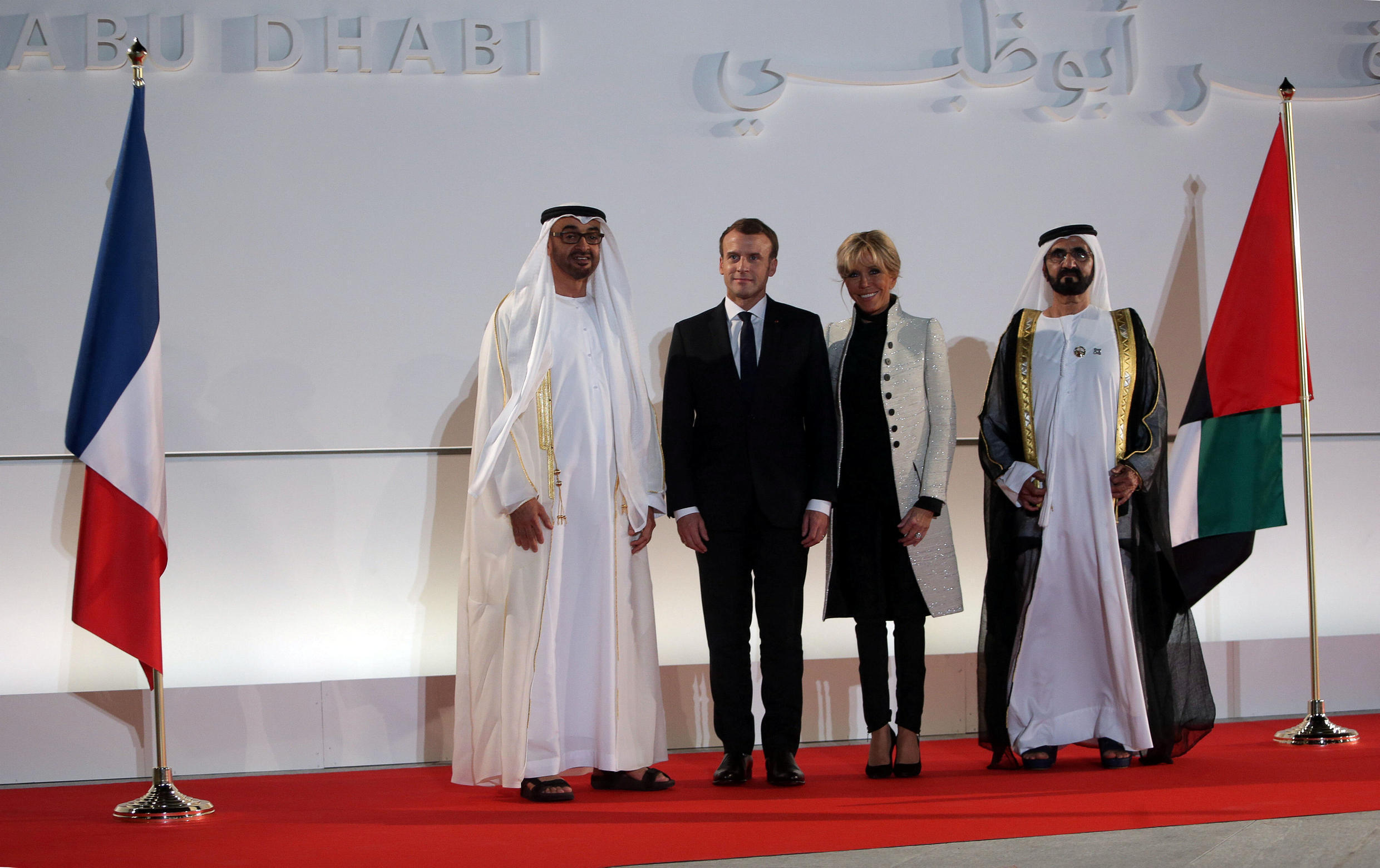 Abu Dhabi Crown Prince Sheikh Mohammed bin Zayed al-Nahyan with French President Emmanuel Macron and his wife at the Louvre Abu Dhabi on 8 November