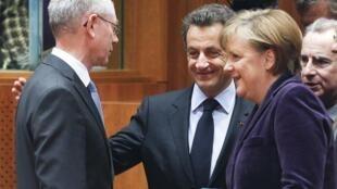欧盟主席范龙培、法国总统萨科齐和德国总理默克尔在布鲁塞尔欧盟峰会会前,2011年2月4日。