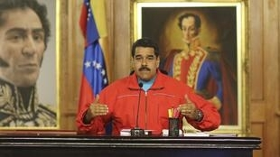 Conferencia de prensa del presidente Nicolás Maduro, este 7 de diciembre en el Palacio de Miraflores, Caracas.