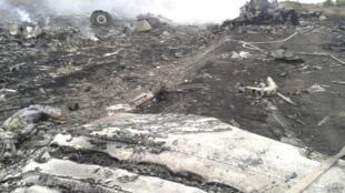 Destroços do Boeing 777 MH-17, da Malaisia Airlines, que caiu na região de Donetsk