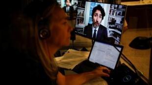 Justin Trudeau, le Premier ministre du Canada, auditionné par la Commission des Finances du Parlement dans le cadre d'une affaire d'éventuel conflit d'intérêt avec l'organisation UNIS, le 30 juillet 2020.