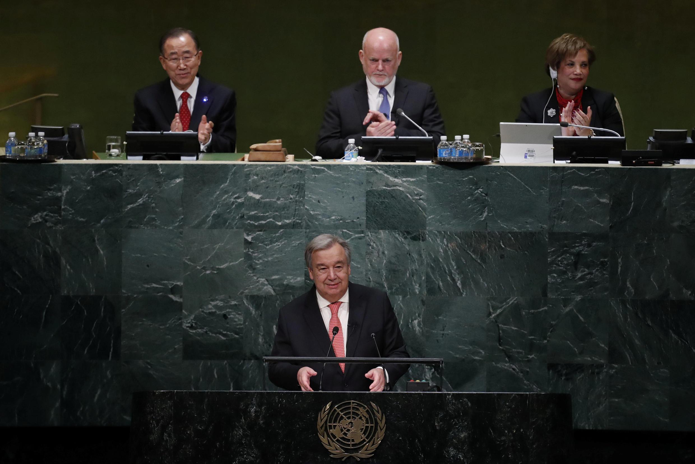 Antonio Guterres, le 12 décembre 2016, lors de discours programme au siège des Nations unies à New York.