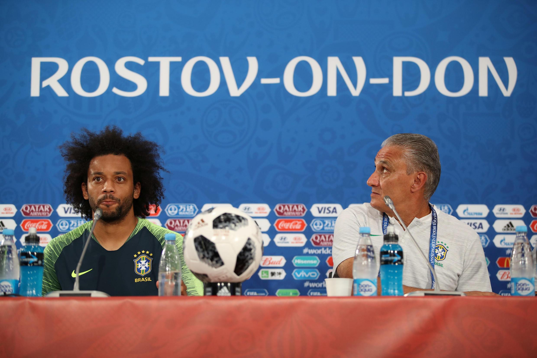 O capitão Marcelo e o treinador Tite durante a entrevista coletiva em Rostov-On-Don neste sábado, 18.06.18