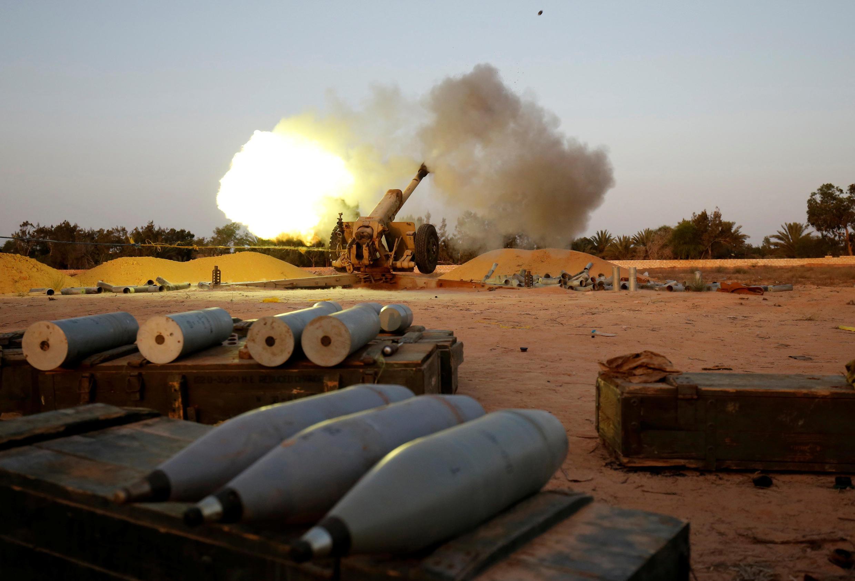 Forças líbias apoiadas pela ONU em Sirte, na Líbia. 12 de julho de 2016.