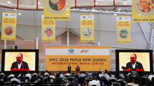 APEC峰會未能達成首腦宣言巴新總理奧尼爾做簡短講話2018年11月18日莫爾斯比港