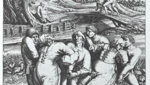 Bản khắc của Hendrik Hondius I cho thấy ba người phụ nữ bị lây nhiễm dịch bệnh nhảy múa.