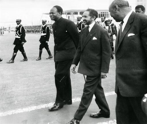 Haile Selassie (C) and Ghana's N'Kwame Nkrumah (L) in Addis Ababa