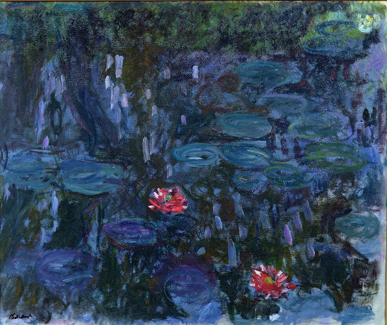 巴黎玛蒙丹-莫内美术馆Marmottan Monet展览画作:睡莲垂柳倒影(1916-19)