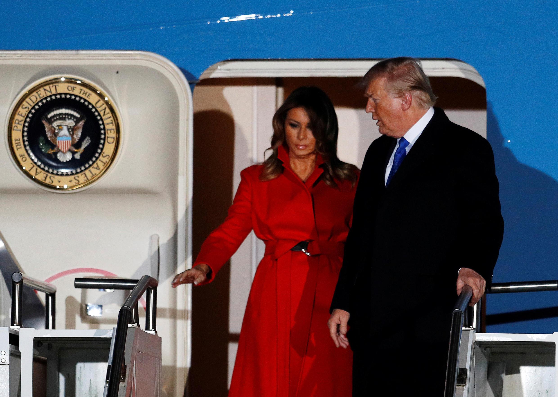 Tổng thống Mỹ Donald Trump và phu nhân đến sân bay Stansted Airport, trước thượng đỉnh NATO, Stansted, 02/12/2019.