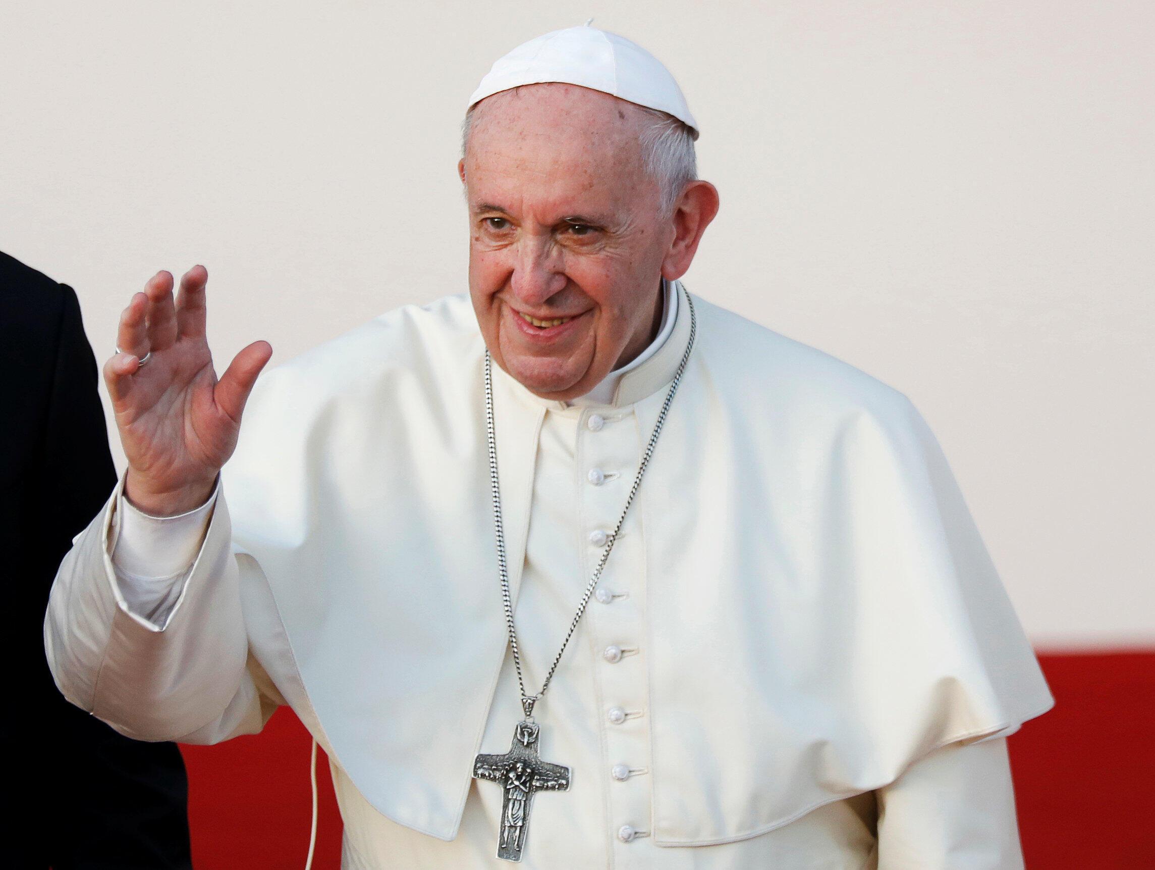 圖為天主教皇方濟各2019年2月3日出訪阿聯酋行前。