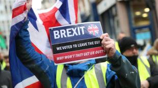 Protesto pró-Brexit nas ruas de Londres em 12/01/19.