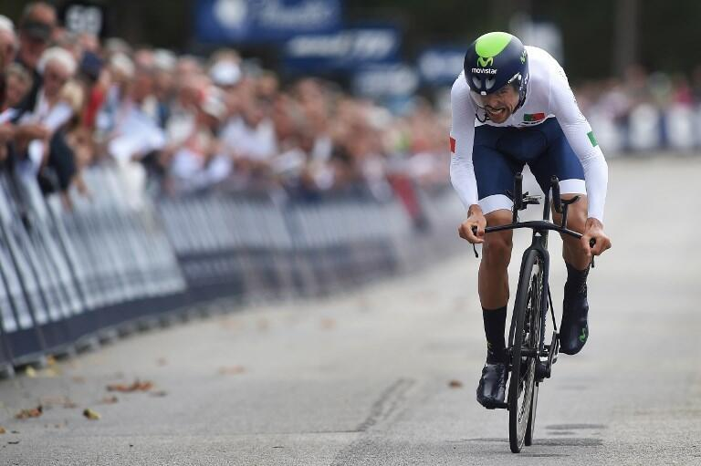 Nelson Oliveira, ciclista português da equipa Movistar, participa na Volta a Espanha 2017.