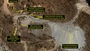 Les tunnels d'essais de Punggye-ri, une installation secrète près de la frontière avec la Chine, seront détruits par des explosions, ce qui bloquera leurs accès, selon le communiqué.