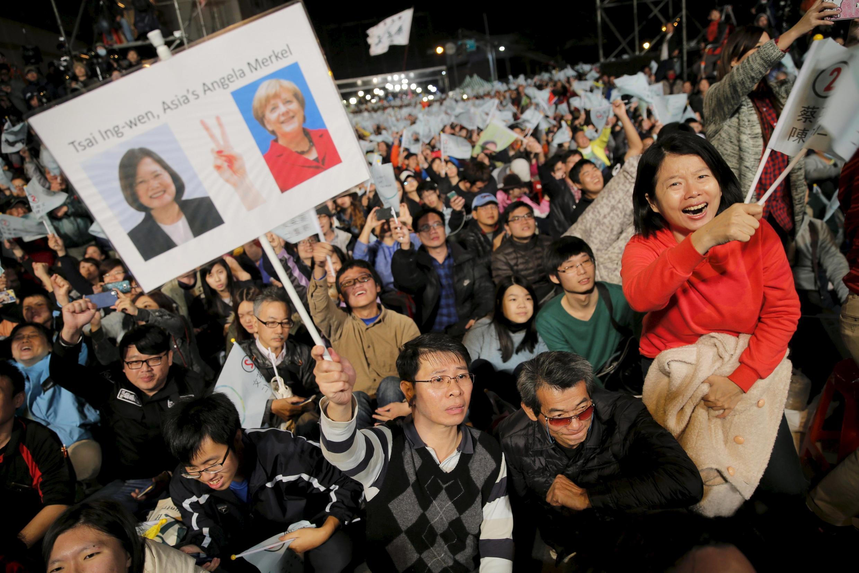 Đài Loan : Cảnh vui mừng của phe đối lập sau kết quả đầu tiên ngày 16/01/2016.