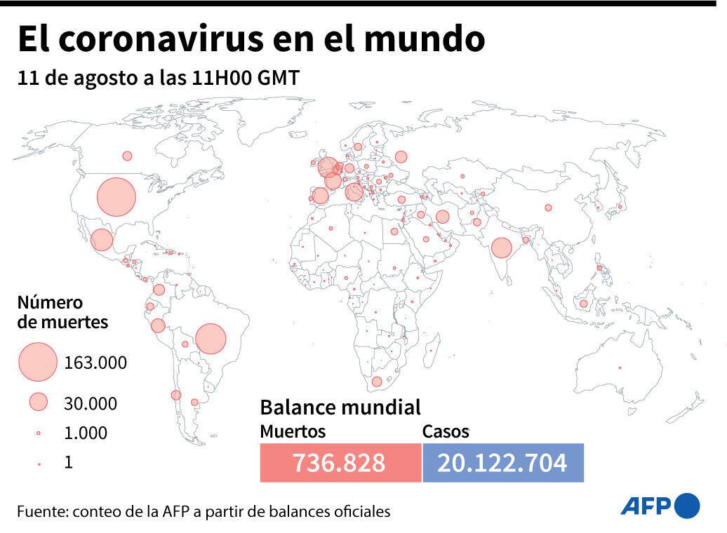 Ảnh minh họa : Bản đồ thế giới với số ca tử vong vào ngày 11/08/2020.