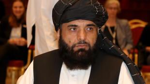 Le porte-parole des talibans au Qatar, Suhail Shaheen, lors des pourparlers interafghans à Doha, le 7 juillet 2019.