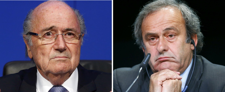 Blatter e Platini (d) foram suspensos pela Fifa por 8 anos