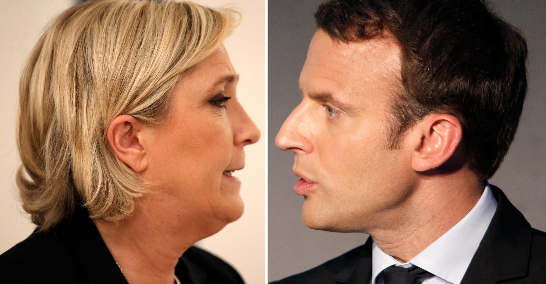 Marine Le Pen y Emmanuel Macron, candidatos en las presidenciales francesas 2017.