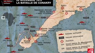 Mapa da batalha de Conacri a 22 de novembro de 1970 com os 6 navios portugueses assinalados a vermelho.