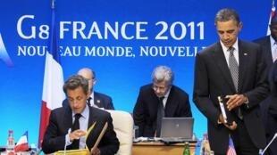 Shugaban Faransa, Nicolas Sarkozy  da  Barack Obama na Amurka a Taron G8 à Deauville.