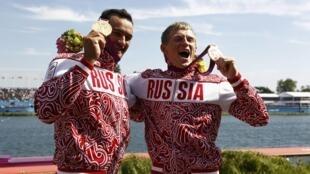 Российская пара Юрий Постригай - Александр Дьяченко - олимпийские чемпионы на байдарке-двойке на 200 м 11 агуста 2012 г.