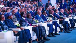 Wasu shugabannin Afrika karkashin jagorancin shugaban Rasha Vladimir Putin a Sochi.